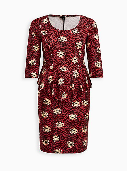 Peplum Dress - Ponte Skulls Leopard Red, SKULL, hi-res