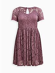Skater Dress - Lace Purple, VIOLET, hi-res