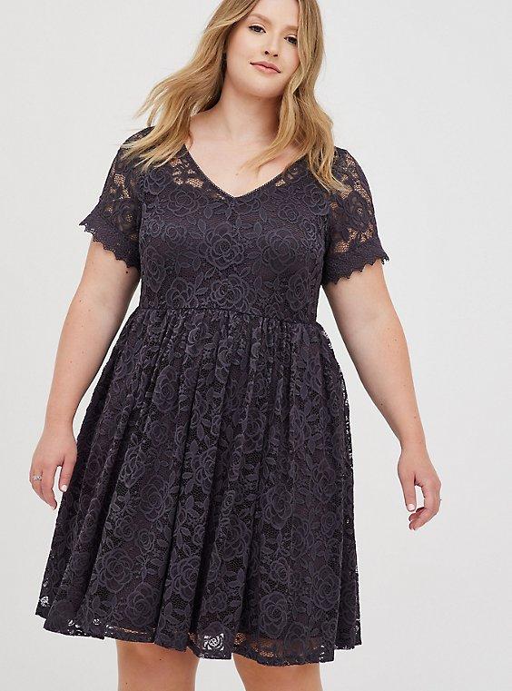 Skater Dress - Lace Grey, NINE IRON, hi-res