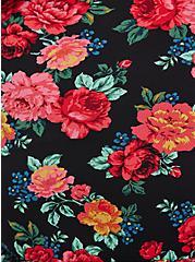Surplice Trumpet Dress - Studio Knit & Chiffon Floral Black, FLORAL - BLACK, alternate