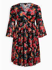 Surplice Trumpet Dress - Studio Knit & Chiffon Floral Black, FLORAL - BLACK, hi-res