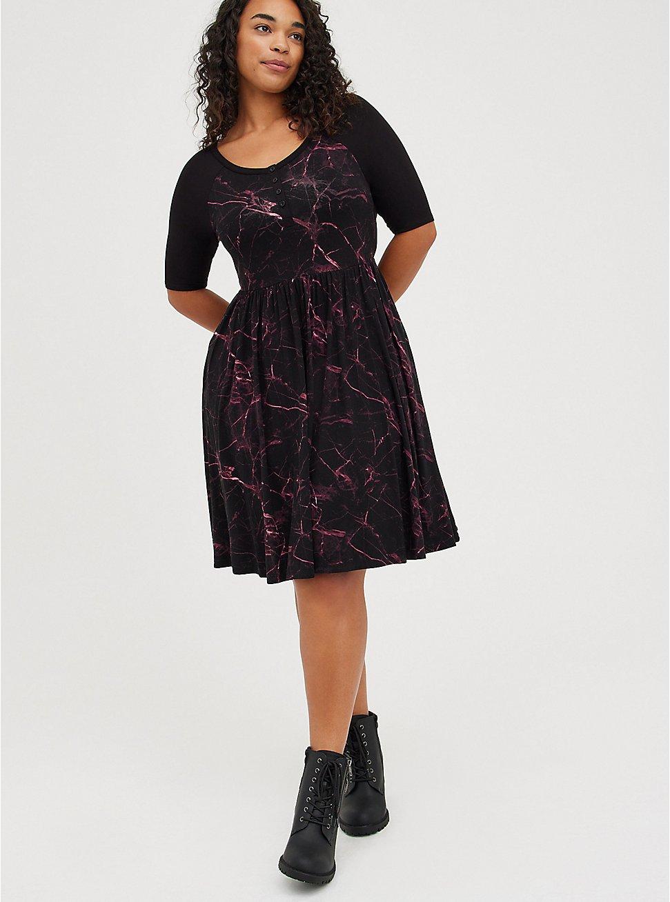 Henley Skater Dress - Super Soft Marble Black, MARBLE - BLACK, hi-res
