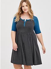 Skater Dress - Super Soft Heather Grey & Blue, HEATHER  CHARCOAL, hi-res