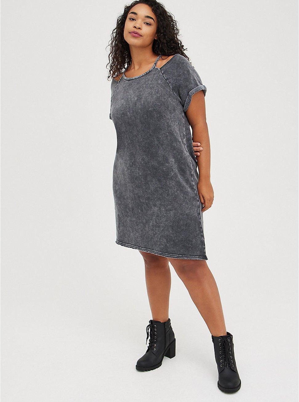 Cold Shoulder Dress - Cozy Fleece Charcoal Mineral Wash, TIE DYE - GREY, hi-res
