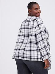Plus Size Drape Jacket - Flannel Plaid White, MULTI, alternate