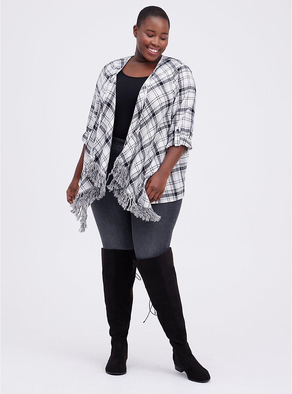 Plus Size Drape Jacket - Flannel Plaid White, MULTI, hi-res