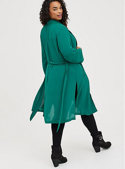 Trench Jacket - Georgette Green, EVERGREEN, alternate
