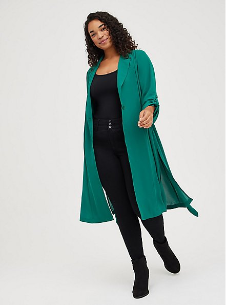 Trench Jacket - Georgette Green, EVERGREEN, hi-res