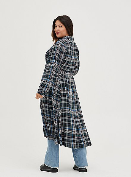 Kimono Maxi Shirt  - Challis Plaid Black, MULTI, alternate