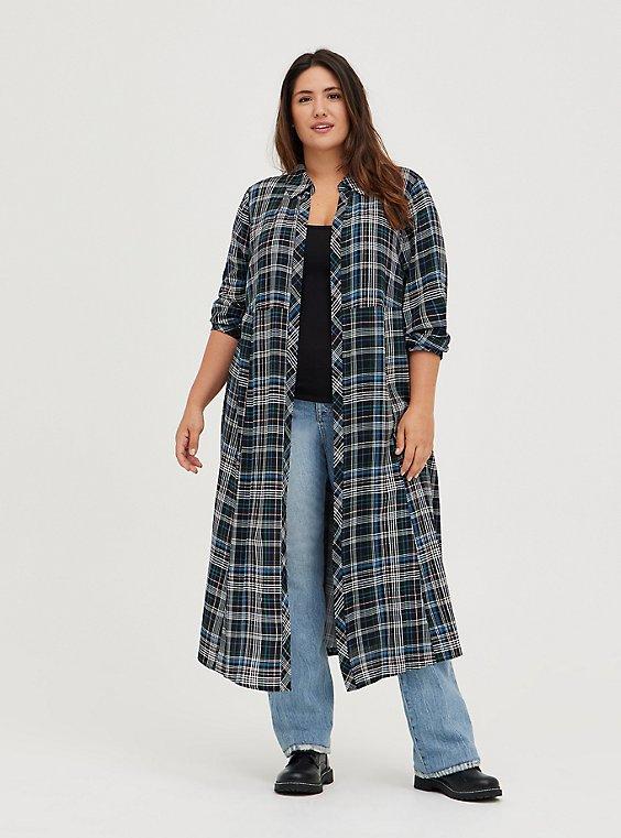 Kimono Maxi Shirt  - Challis Plaid Black, MULTI, hi-res
