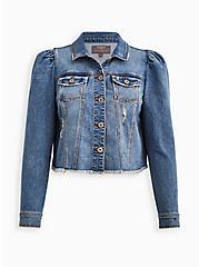 Puff Sleeve Trucker Jacket - Stretch Denim Medium Wash, MEDIUM WASH, hi-res