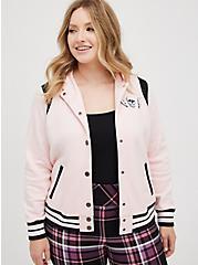 Varsity Bomber - Fleece Skull Pink, PINK SKULL, hi-res