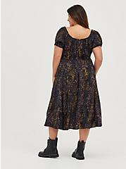 Plus Size Skater Midi Peasant Dress - Challis Leopard Black, LEOPARD - BLACK, alternate
