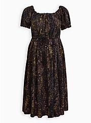 Plus Size Skater Midi Peasant Dress - Challis Leopard Black, LEOPARD - BLACK, hi-res