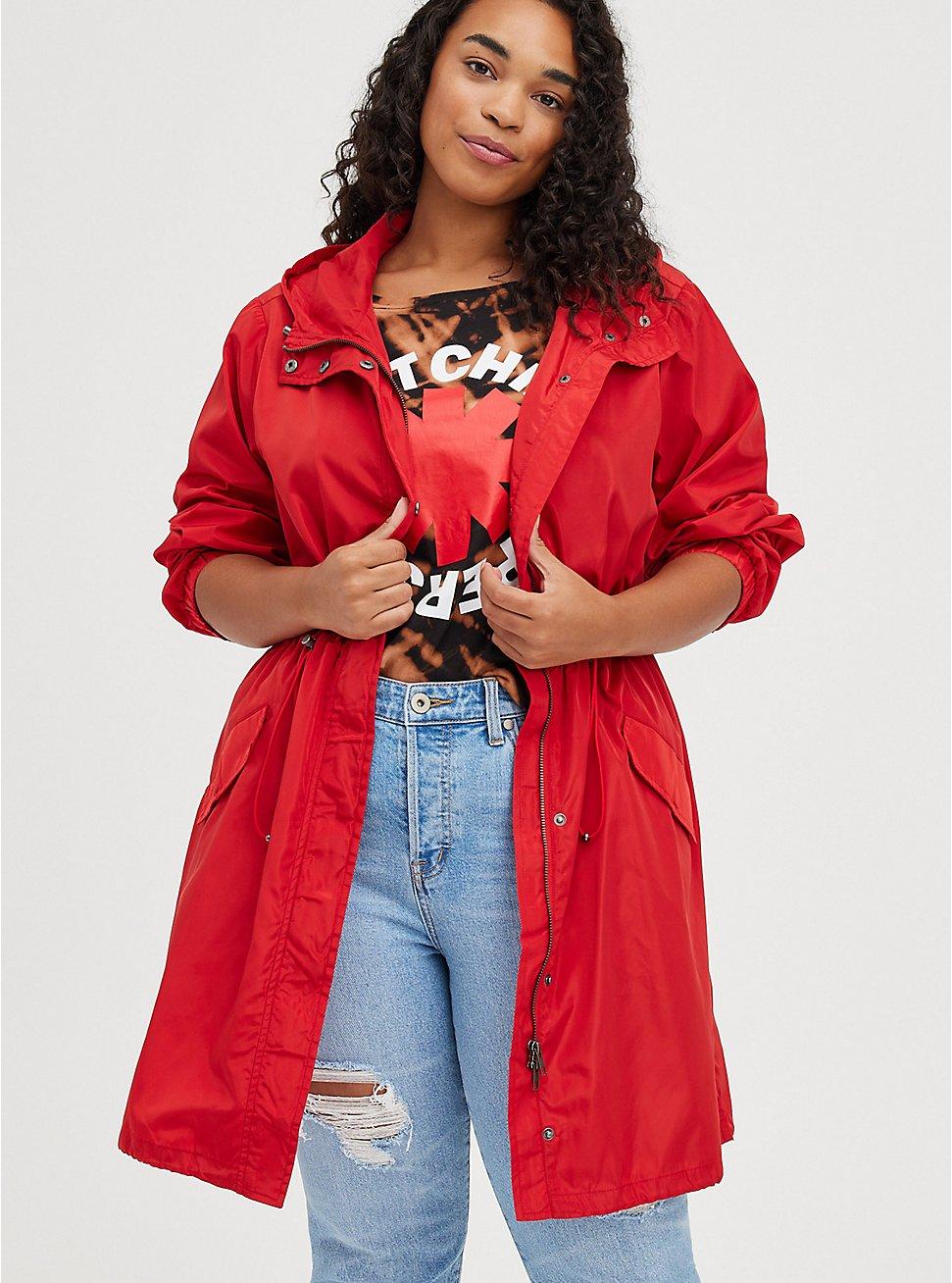 Plus Size Longline Rain Jacket - Red, RED, hi-res