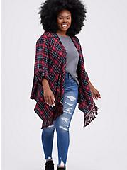 Drape Jacket - Plaid Flannel Red , MULTI, alternate
