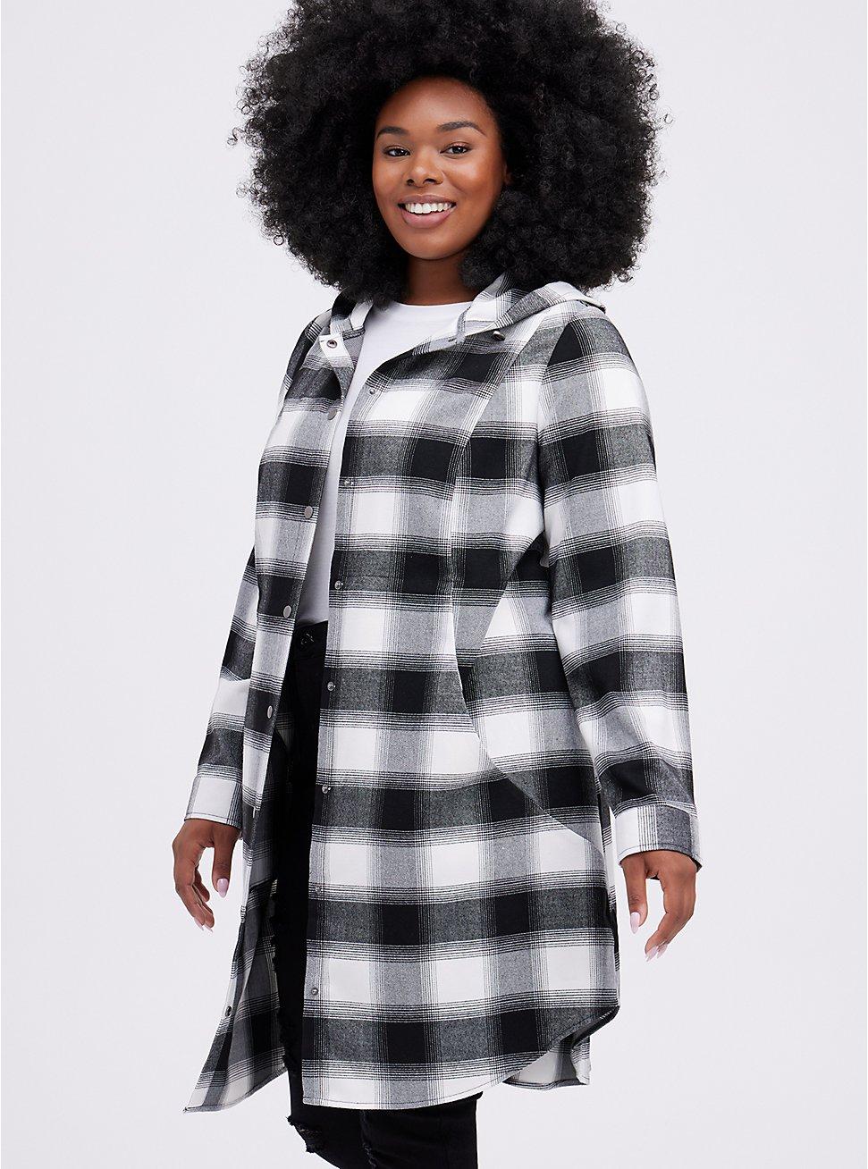 Anorak - Brushed Flannel Plaid Black & White , MULTI, hi-res