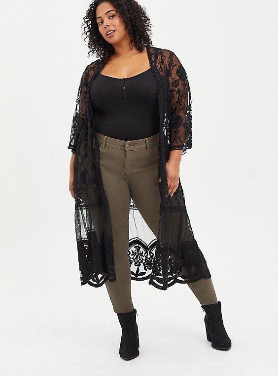 Lace Kimono - Mesh Black, DEEP BLACK, hi-res