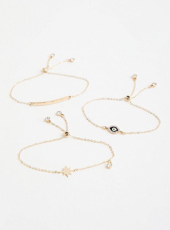Evil Eye Pull Clasp Bracelet Set of 3 - Gold Tone, , hi-res