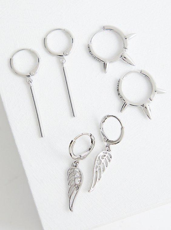 Wing Huggie Hoop Set - Silver Tone , , hi-res