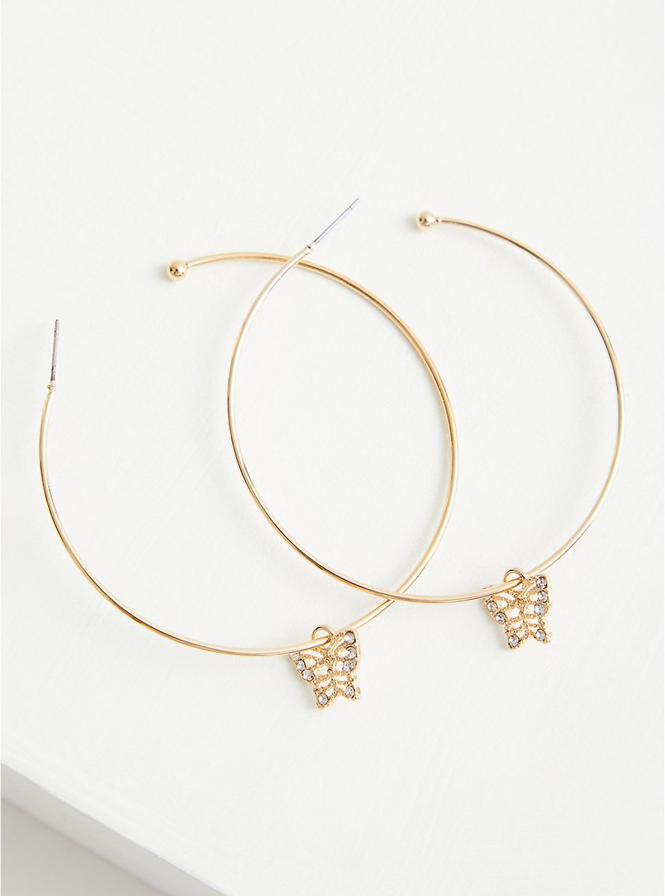 Plus Size Butterfly Charm Hoop Earring - Gold Tone , , hi-res