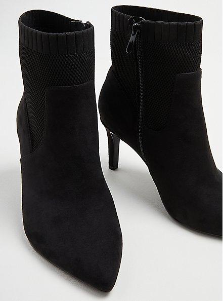 Stretch Heel Bootie - Faux Suede Black (WW), BLACK, alternate