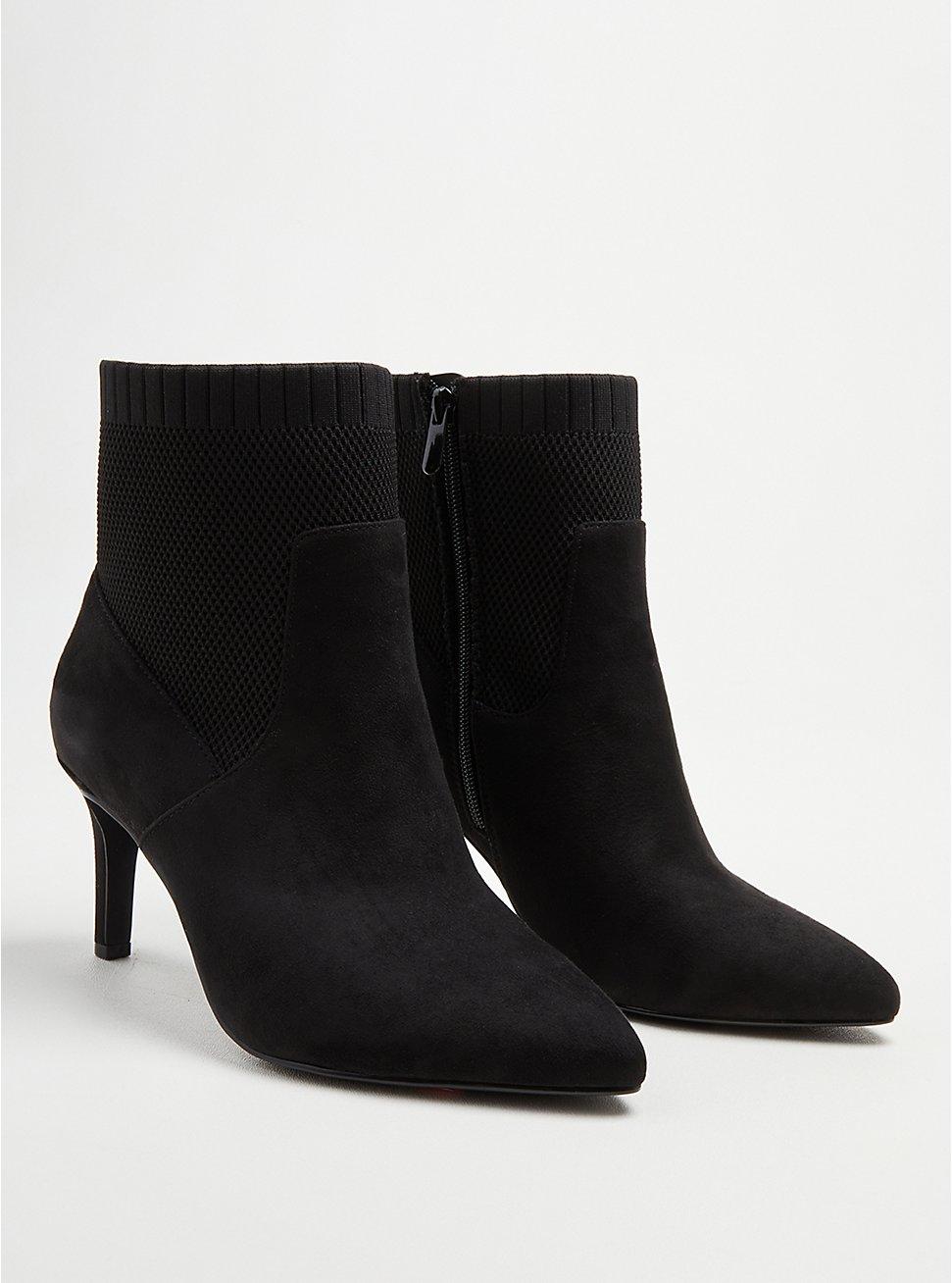 Stretch Heel Bootie - Faux Suede Black (WW), BLACK, hi-res