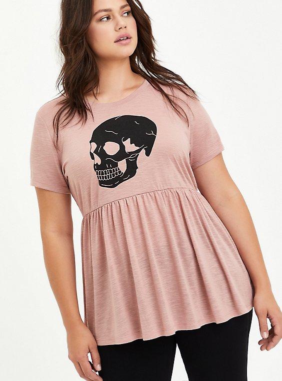 Babydoll Top - Heritage Slub Skull Pink, DUSTY QUARTZ, hi-res