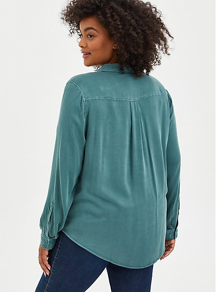 Plus Size Button Down - Soft Stretch Challis Green, SILVER PINE, alternate