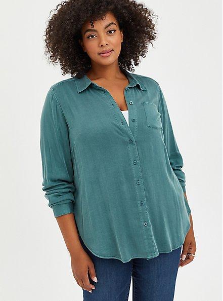 Plus Size Button Down - Soft Stretch Challis Green, SILVER PINE, hi-res