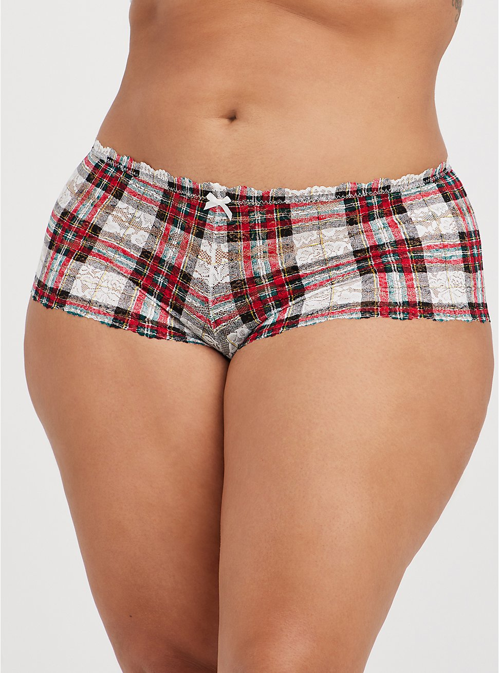 Lace Cheeky Panty - Plaid White and Red, NEXT TARTAIN PLAID- WHITE, hi-res