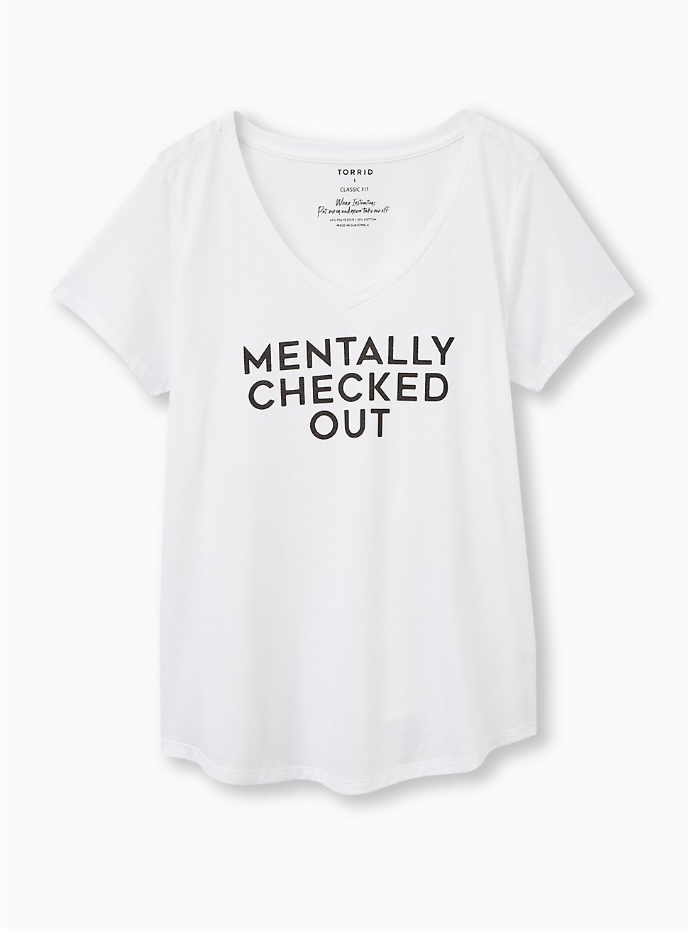 Girlfriend Tee - Signature Jersey Mentally Checked Out White, BRIGHT WHITE, hi-res