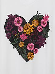 Girlfriend Tee - Signature Jersey White Floral Heart, BRIGHT WHITE, alternate