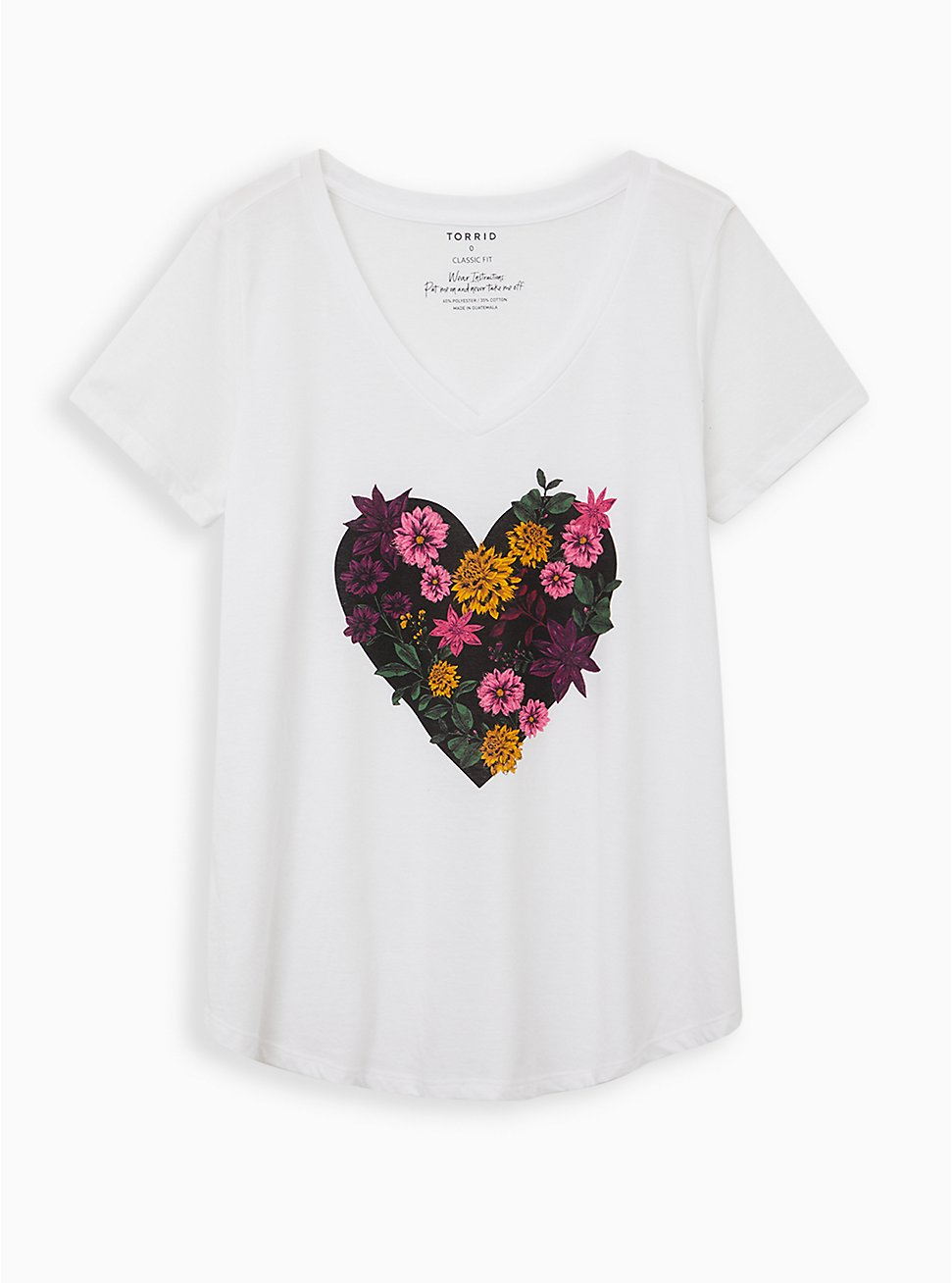 Girlfriend Tee - Signature Jersey White Floral Heart, BRIGHT WHITE, hi-res