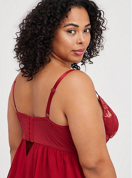 Underwire Babydoll - Lace Red & Gold, BIKING RED, alternate