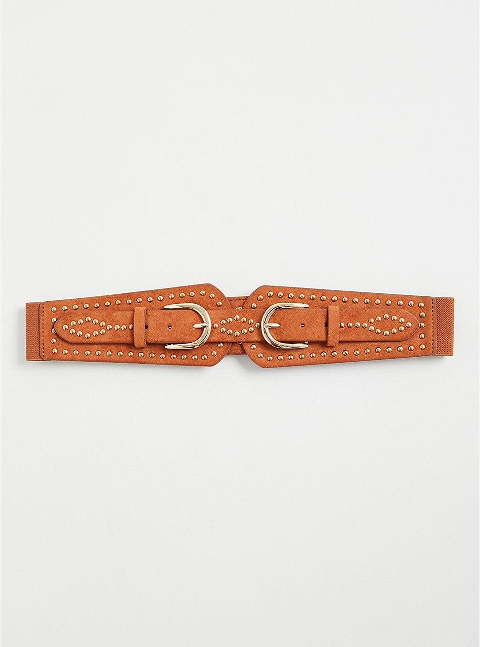 Studded Waist Belt - Faux Suede Cognac, BROWN, hi-res