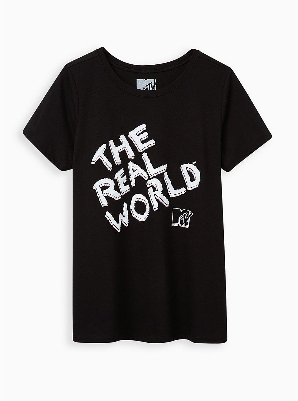 Slim Fit Crew Tee - The Real World Black , DEEP BLACK, hi-res