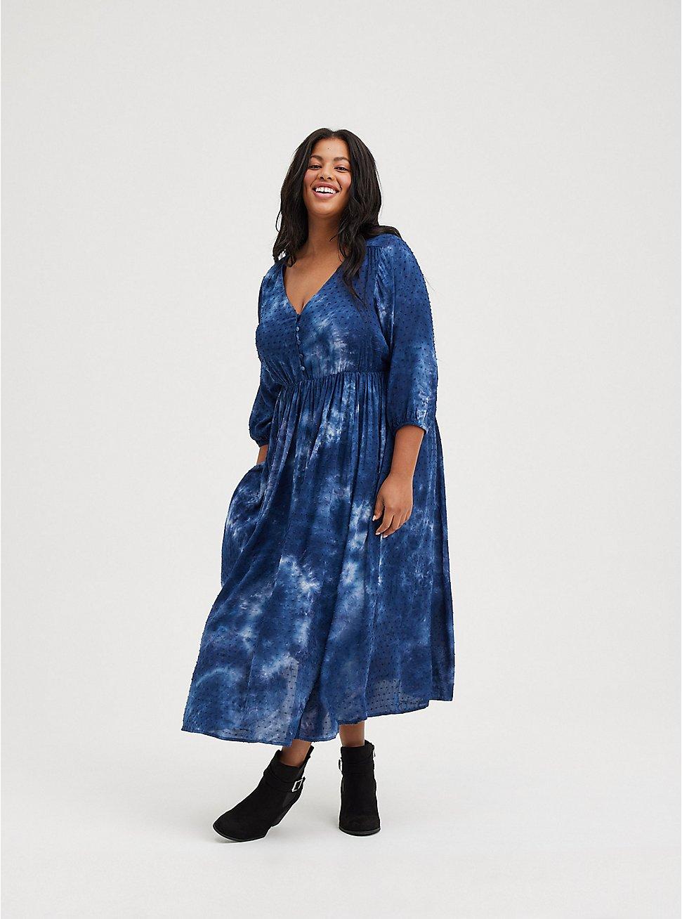 Tea-Length Dress - Chiffon Clip Dot Tie-Dye Blue, TIE DYE-BLUE, hi-res