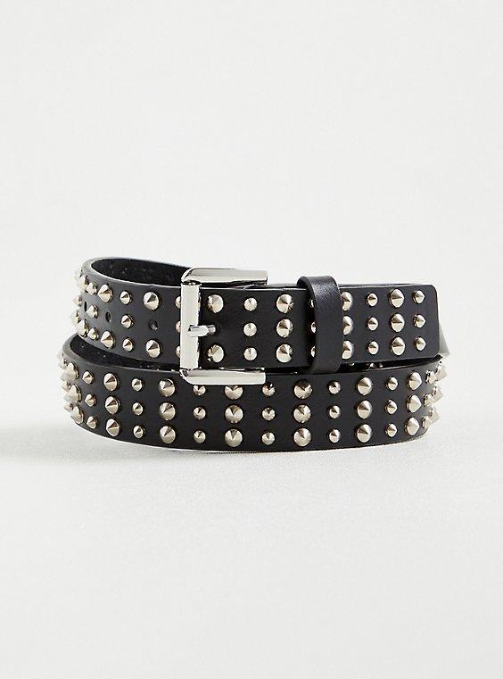 Studded Waist Belt - Faux Leather Black, BLACK, hi-res