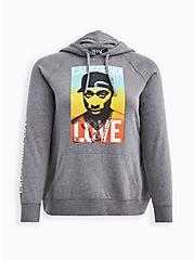 Hoodie - Fleece Tupac Cali Love Grey, MEDIUM HEATHER GREY, hi-res