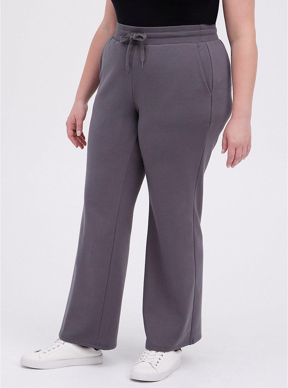 Plus Size Flare Pant - Ultra Soft Fleece Dark Grey, DARK GREY, hi-res