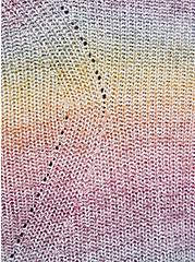 Open Front Cardigan Sweater - Acrylic Cotton Rainbow, STRIPE - MULTICOLOR, alternate