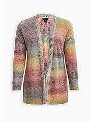 Open Front Cardigan Sweater - Acrylic Cotton Rainbow, STRIPE - MULTICOLOR, hi-res