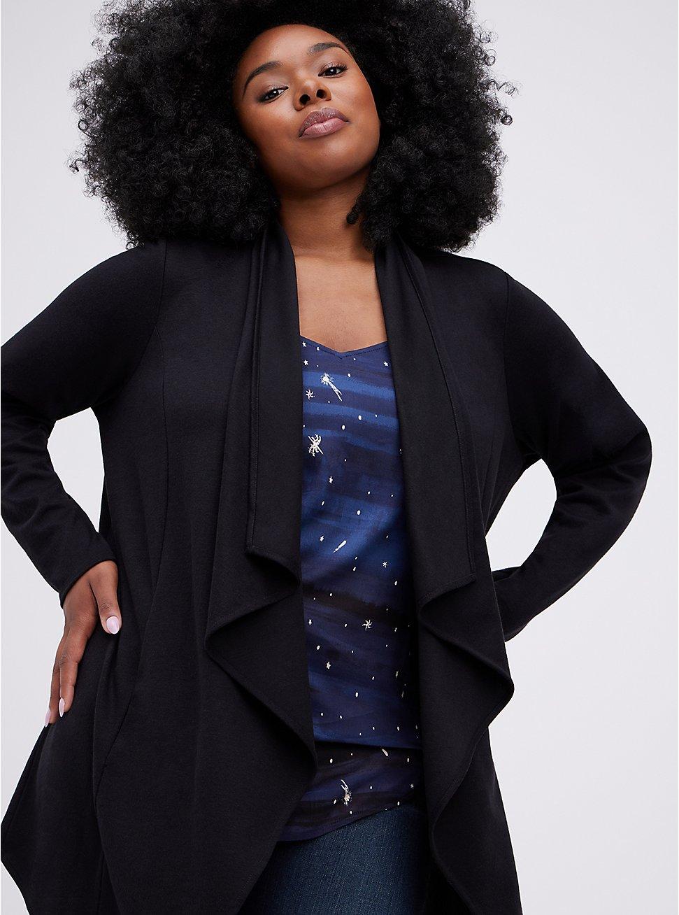 Drape Kimono - Brushed Ponte Black, DEEP BLACK, hi-res