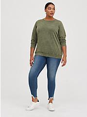 Raglan Sweatshirt - Cozy Fleece Olive, PINK, alternate