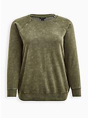 Raglan Sweatshirt - Cozy Fleece Olive, PINK, hi-res