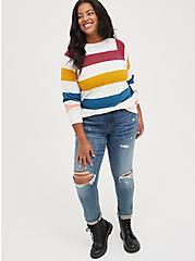 Raglan Sweatshirt -  Cozy Fleece Multi Stripe, OTHER PRINTS, alternate