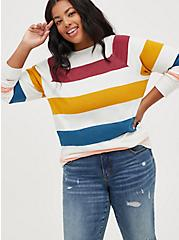Raglan Sweatshirt -  Cozy Fleece Multi Stripe, OTHER PRINTS, hi-res