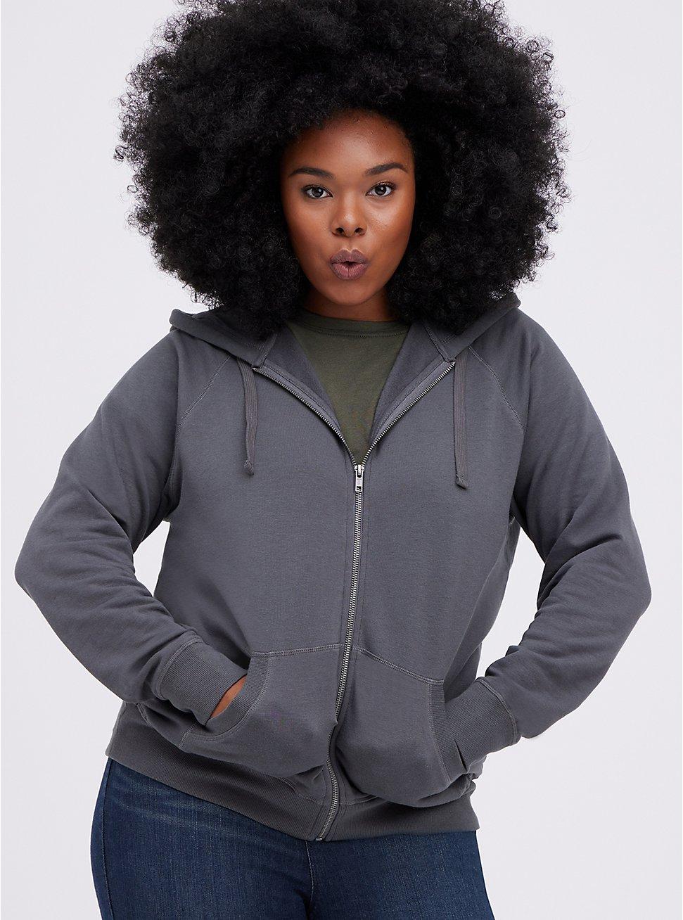 Zip-Up Hoodie - Ultra Soft Fleece Grey, GREY, hi-res