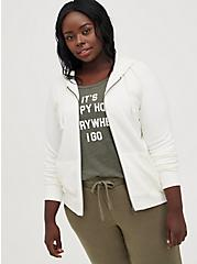 Plus Size Zip-Up Hoodie - Ultra Soft Fleece Ivory, MARSHMALLOW, hi-res